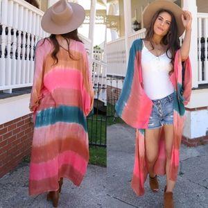 New Tie Dye Kimono Swim Cover Up Cardigan Duster